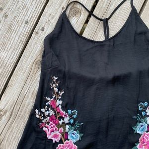 Lucky Brand black satin embroidered dress/coverup